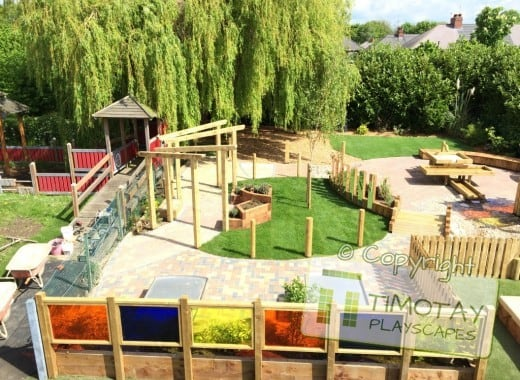 Special Needs Playground with Timotay Playscapes logo overlaid