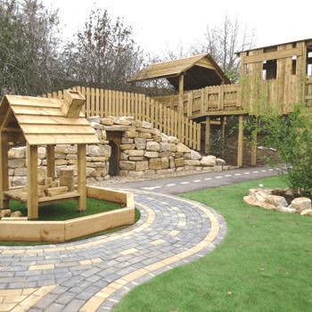 Playground surfaces, wooden playground equipment