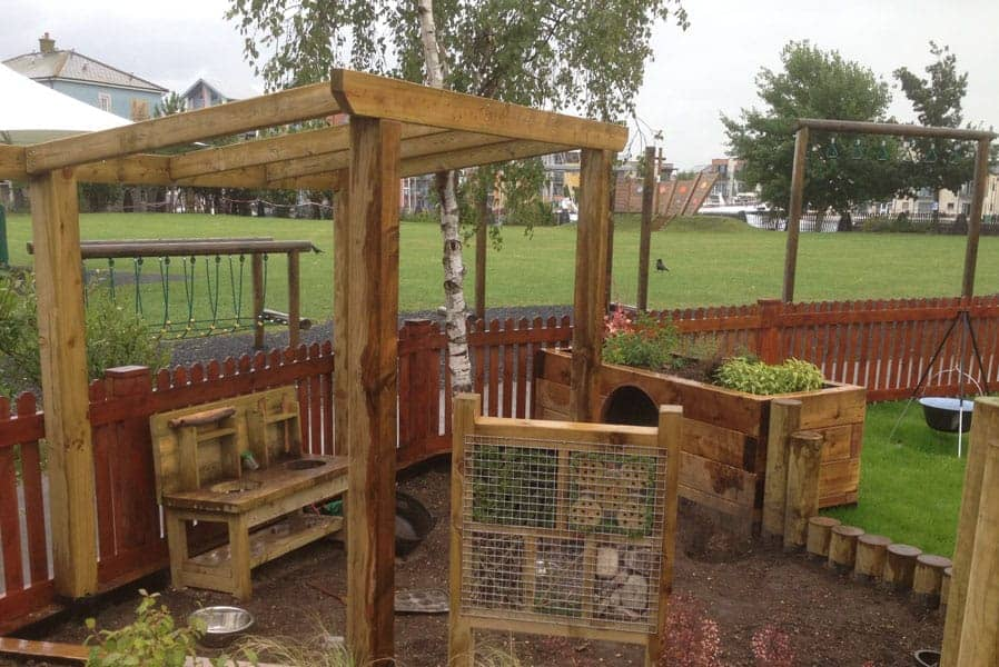 Playground surfaces, wooden playground equipment
