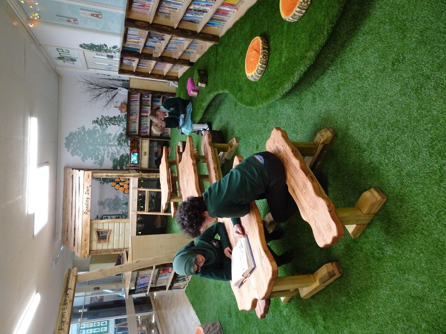 Indoor woodland library